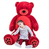 WOWMAX 6 Foot Giant Huge Life Size Teddy Bear Cuddly Stuffed Plush Animals Daney Teddy Bear Toy Doll for Birthday Valentine's Day Red 72 Inches