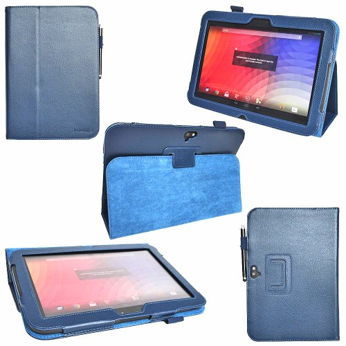 i-design Google Nexus 10 Premium PU Leather Case with Flip Stand Support, Stylus holder and Wake/Sleep Function (Google Nexus 10, Deep Blue)