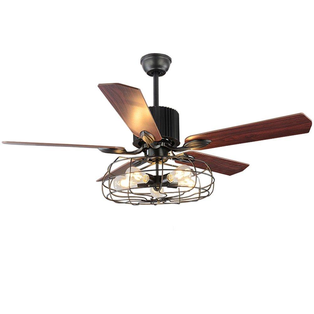 BAYCHEER Industrial Wrought Iron Style Fan Semi Flush Ceiling Light ...