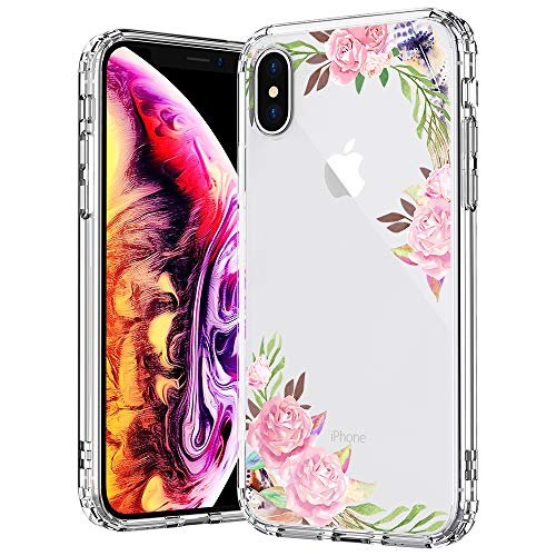 MOSNOVO Case for iPhone Xs/iPhone X, Floral Rose Garden Flower Pattern Clear Design Transparent Back with TPU Bumper Protective Case Cover for iPhone X/iPhone Xs