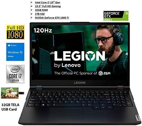 2020 Newest Lenovo Legion 5 15″ Full HD Gaming Laptop Intel Core i7-10750H (2.6 Based GHz) 32GB Memory NVIDIA GeForce GTX 1660 Ti 1TB SSD Phantom Black Windows 10 | 32GB Tela USB Card 51Mjjp 58EL