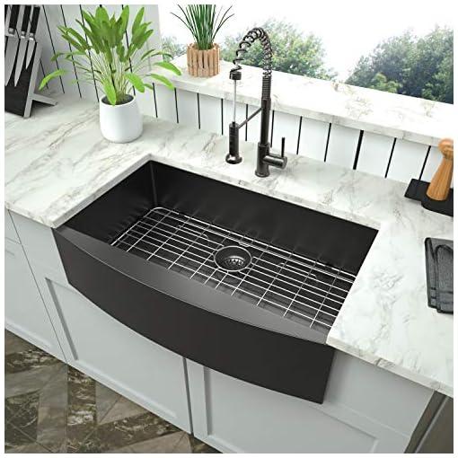 Farmhouse Kitchen Farmhouse Apron Front Kitchen Sink – Mocoloo 33 Inch 16 Gauge Gunmetal Black Stainless Steel Single Bowl Kitchen Farm… farmhouse kitchen sinks