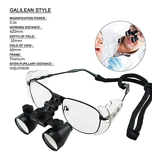 Aries Outlets 3.5X Magnification Dental Loupes, Galilean Style Titanium Frame, 420mm Distance