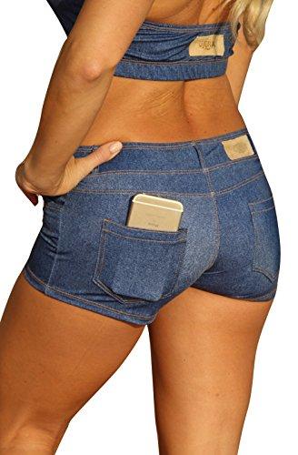 UjENA Baby Blue Jean Bikini Short Swimwear - Size: X-Small -