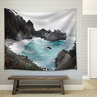 Sea Bay with Rocks Waves Fabric Wall Small