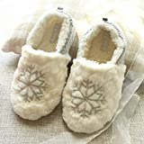DEED Slippers - Home Big Snowflake Home Winter Cotton Slippers Christmas Sweet Bag with Women's Cotton Shoes,Grey,38-39