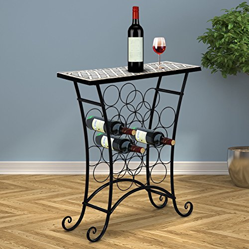 16 Bottles Wine Storage Rack Metal & Top Tile Display Shelves Decor Bar & Living - Ca Glendale Target