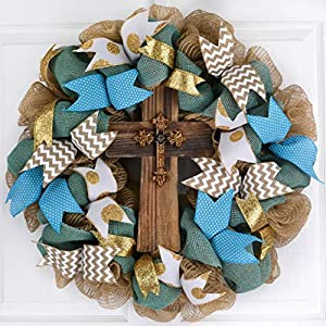 Everyday Rustic Cross Mesh Front Door Wreath; Turquoise Blue Jute White Gold Ivory Burlap 61