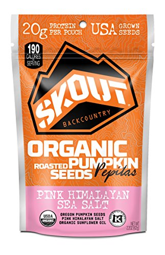 SKOUT BACKCOUNTRY Organic Roasted Pumpkin Seeds - Pink Himalayan Sea Salt -Pepitas With No Shell- Vegan, Low Carb Snacks -Paleo & Keto Foods- Gluten Free-Non-GMO-Kosher -Grown in USA- 2.2 oz (6 Count)