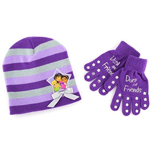 Disney Nickelodeon Mattel Girls Hat and Gloves Set (Purple Dora & Friends)
