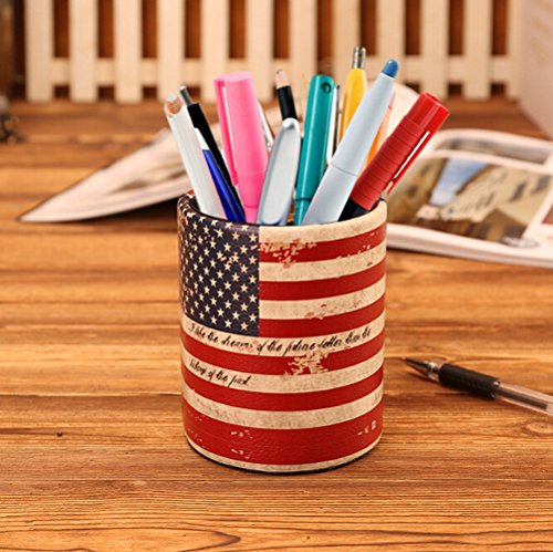 Vintage PU Leather Pen Holder Desktop Stand Pencil Cup Pot Round Container Organizer for Pens,Utensils,Office Supplies Caddy,Multipurpose Cosmetic Brush Organizer,US Flag