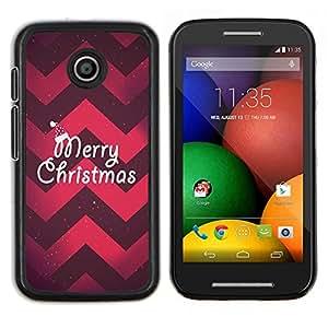 EJOOY---Cubierta de la caja de protección para la piel dura ** Motorola Moto E ** --Navidad Chevron rojo púrpura de Navidad