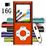 Tomameri - MP3 / MP4 Player with Rhombic Button, Including a 16 GB Micro SD Card and Maximum support 32GB, Compact Music & Video Player, Photo Viewer, Video and Voice Recorder Supported - Orange