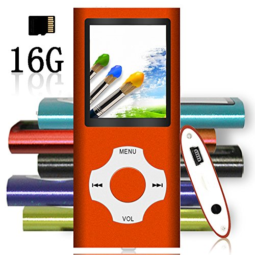 Tomameri – MP3 / MP4 Player with Rhombic Button, Portable Music and Video Player, Including a 16 GB Micro SD Card and Maximum Support 64GB, Supporting Photo Viewer and Video – Orange
