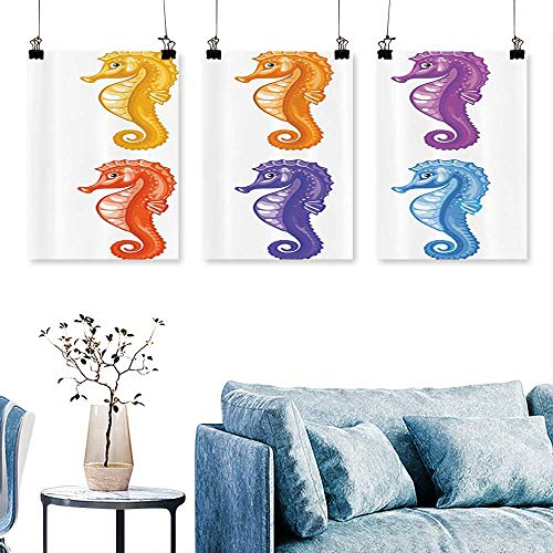 (SCOCICI1588 3 Panel Canvas Wall Art Baby Seahorse Diving Swim Unique Young Mascot Maritime Print On Canvas No Frame 30 INCH X 60 INCH X)