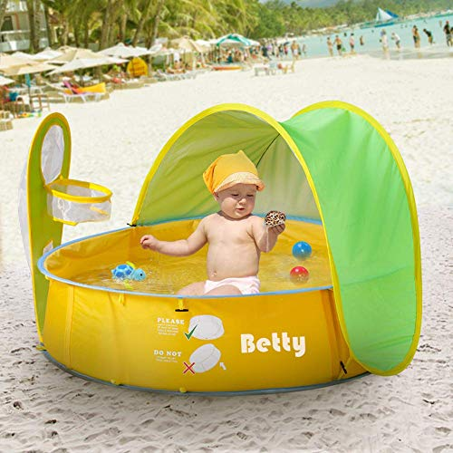 Pop Up Baby Beach Tent and Pool Tent UV Protection Sun Shelters,Portable Kids Ball Pit Play Tent Indoor Outdoor Baby Paddling Pool Beach Canopy Tent Garden (Pop Up Swimming Pool)