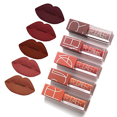5 Colors Matte Lipstick Set Long Lasting Velvet Lips Tint Liquid Lipstick Waterproof Lipstick Makeup 5pcs/kit