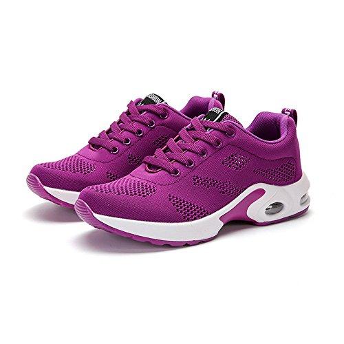 Sfit Damen Laufschuhe Atmungsaktiv Leichte Sneaker Air Sohle Fitness Wanderschuhe Keilabsatz Turnschuhe Schnürer Running Shoes Lila