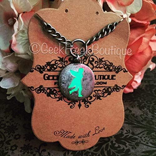 Green Glow In The Dark Kawaii Pixie Fairy Pendant Necklace with Chunky Chain