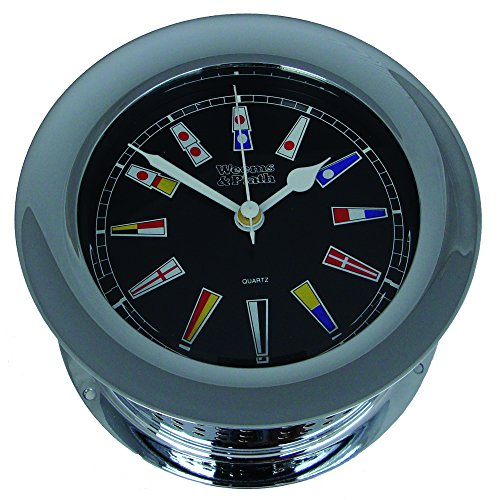Chrome Plated Atlantis Quartz Clock, Black Dial w/Color Flags