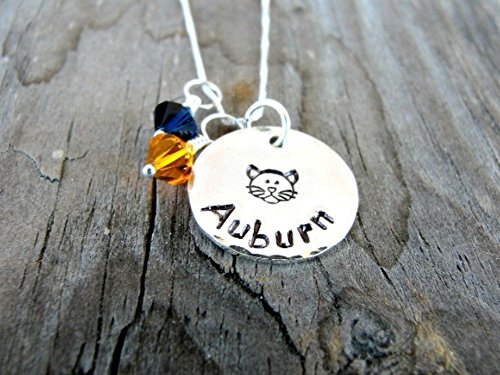 Auburn Tiger Necklace - Auburn Necklace in Sterling Silver- Hand Stamped Jewelry ()