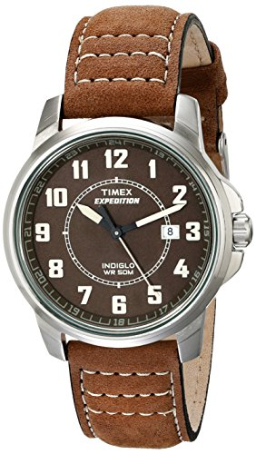(Timex Men's T49891 Expedition Metal Field Brown Leather Strap Watch)