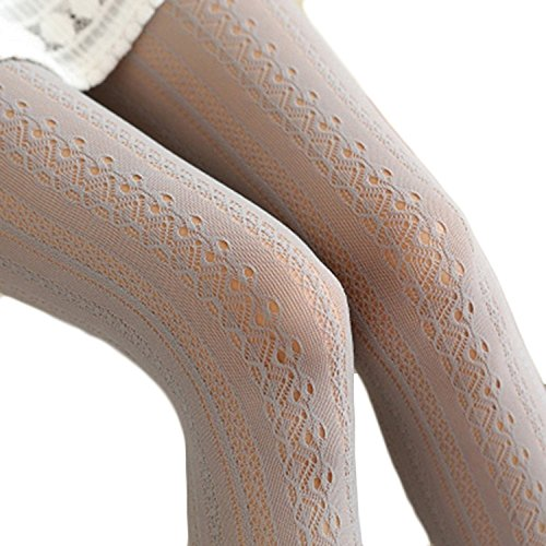 SurBepo Women Fishnet Hollow Out Chiffon Lace Stockings Tights Vertical Strips Pantyhose For Female (Gray, One -