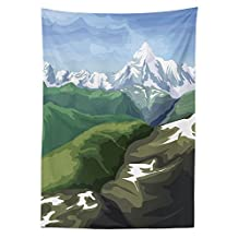 Landscape Tablecloth Oil Painting Mountain Scenery Snowy Peak and Tres Hills Dining Room Kitchen Rectangular Table Cover Light Blue White Olive Reseda Green