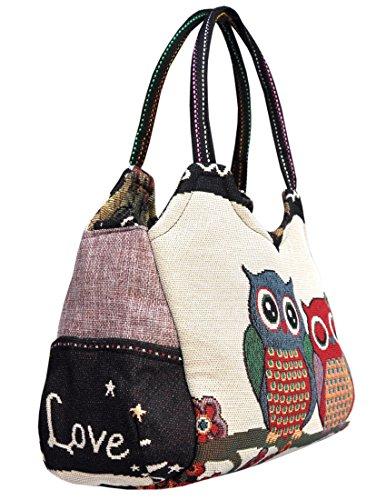 Magnifica borsetta importata da Tailandia, multicolore, motivi Gufi (42240)