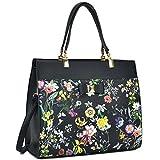 Dasein Women's Fashion Designer Satchel Handbags Purse Shoulder Bag Work Bag With Removable Shoulder Strap (F-6338 Black Floral)