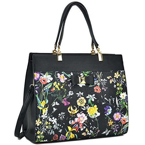 Dasein Women's Fashion Designer Satchel Handbags Purse Shoulder Bag Work Bag With Removable Shoulder Strap (F-6338 Black Floral) by Dasein