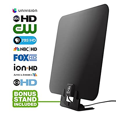HDTV Antenna by WatchFree HDTV- Amplified Super Thin High Definition TV Antenna - 50 Mile Range with Signal Amplifier for Best Reception - 7 ft Coax Cable - Includes Free Table Stand