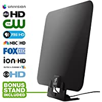 HDTV Antenna by WatchFree HDTV- Amplified Super Thin High Definition TV Antenna - 50 Mile Range with Signal Amplifier for Best Reception - 11 ft Coax Cable - Includes Free Table Stand