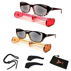 (#BRSR24 2pk Red&Brn) New Fashion Designer Women Sun Readers Sunglasses + Reading Glasses ALL-IN-ONE Free Carry Case (Strength: +2.00)