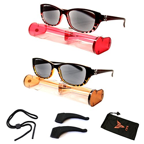 (#BRSR24 2pk Red&Brn) New Fashion Designer Women Sun Readers Sunglasses + Reading Glasses ALL-IN-ONE Free Carry Case (Strength: - Polarized Sunglasses Reading
