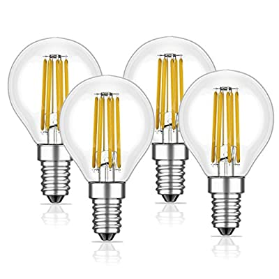 SooFoo E12 Candelabra Base 6W Dimmable COB LED Filament Globe Candle Light Bulb,2700K Warm White 600LM,60W Incandescent Replacement
