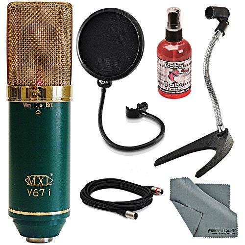 MXL V67iLarge Dual Diaphragm Condenser Microphone Bundle with Pop Filter, Mic Desktop Stand, XLR Cable, Mic Sanitizer, FiberTique Cleaning Cloth