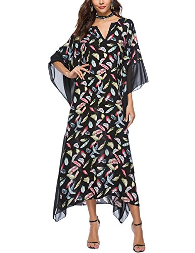 Buauty Womens Flowy Chiffon Dress Batwing Sleeve Maxi, used for sale  Delivered anywhere in USA