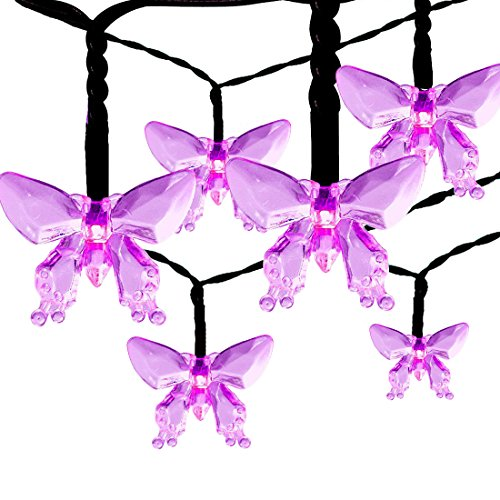 Outdoor Solar String Lights, Satu Brown 21ft 30LED Fairy Butterfly Waterproof Lights Decorative Lighting For Home, Garden, Patio, Yard, Christmas, Parties