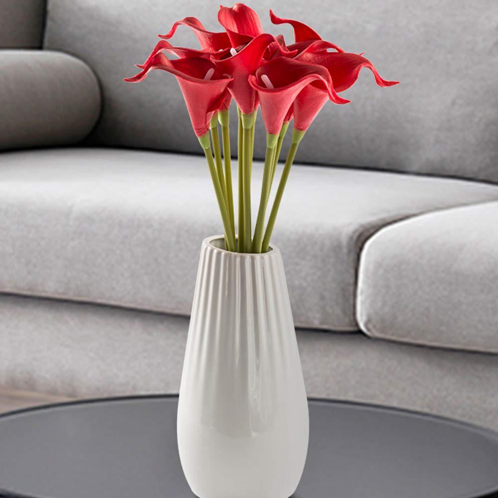 Semoon 造花 カラーリリーブライダルブーケ 10個 ウェディング装飾 リアルタッチの造花 ホームフラワー パーティー フェスティバル バー デコレーション レッド H130002-03-MW01501-DHS-10PCS B07KF8JPSL レッド