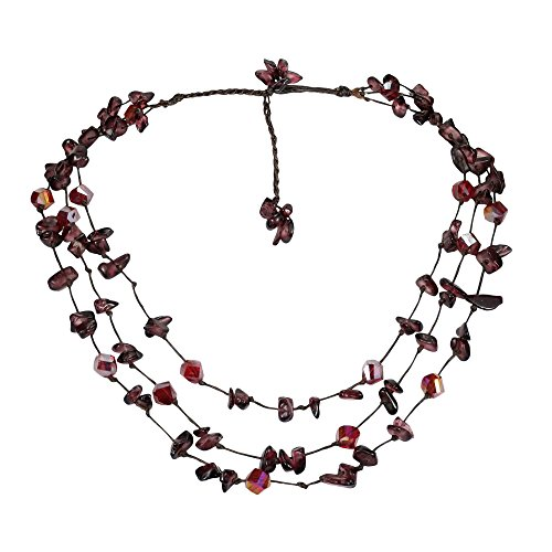 (AeraVida Triple Layer Red Glamor Garnet & Fashion Crystal Cotton Wax Rope Strand Necklace)