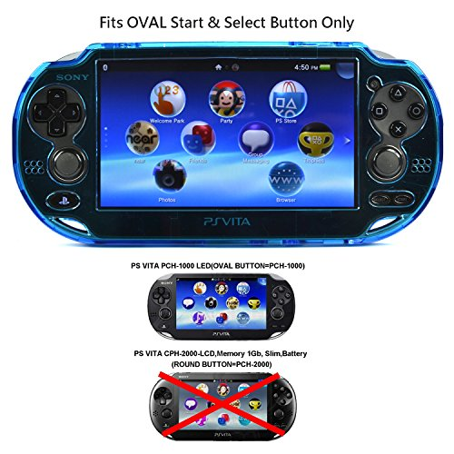 Psp Screen Armor - COSMOS ® Light Blue protection hard case cover for Playstation PS VITA 1000, Fits for Oval Start & Select button only, with LCD Touch Screen Cleaning Cloth