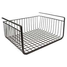 InterDesign York Lyra Under Shelf Hanging Wire Storage Basket for Kitchen Pantry - Bronze
