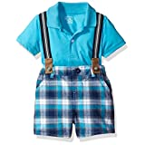 The Children's Place Baby Boys' Plaid Suspender Short Set, Blue Atoll, 9-12MOS