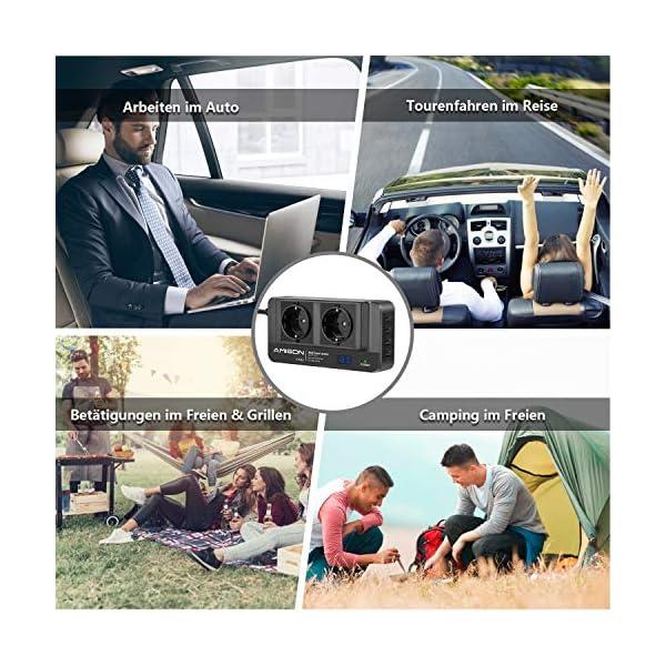 51Mjoeguq L 200W KFZ Wechselrichter, Amison Spannungswandler 12V auf 230V mit Smart echtzeitdarstellung LCD, 2 Steckdosen und 4 USB…