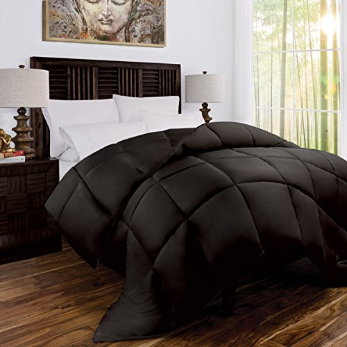 Price comparison product image Zen Bamboo Luxury Goose Down Alternative Comforter - All Season Hotel Quality Hypoallergenic Duvet Insert with Cooling Bamboo Blend Fabric - Full/Queen - Chocolate