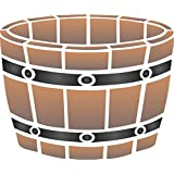 """Wine Barrel Planter Stencil - (size 10""""w x 8.5""""h) Reusable Wall Stencils for Painting - Best Quality Wall Art Décor Ideas - Use on Walls, Floors, Fabrics, Glass, Wood, Terracotta, and More…"""