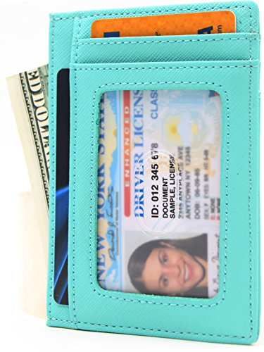 Fashion Crosshatch Leather Women Wallet Zipper Credit Card Wallet RFID Blocking Card Holder Protector ID Card Window