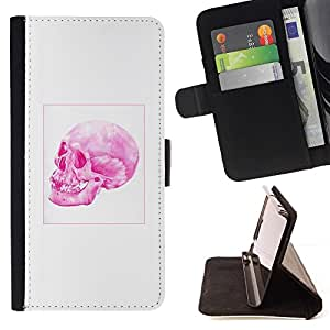 Momo Phone Case / Flip Funda de Cuero Case Cover - Cráneo rosado;;;;;;;; - Huawei Ascend P8 Lite (Not for Normal P8)