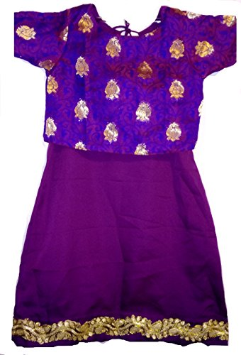 14-18 Month Baby Girl Purple Unique Indian Silk Full Length Ethnic Dress